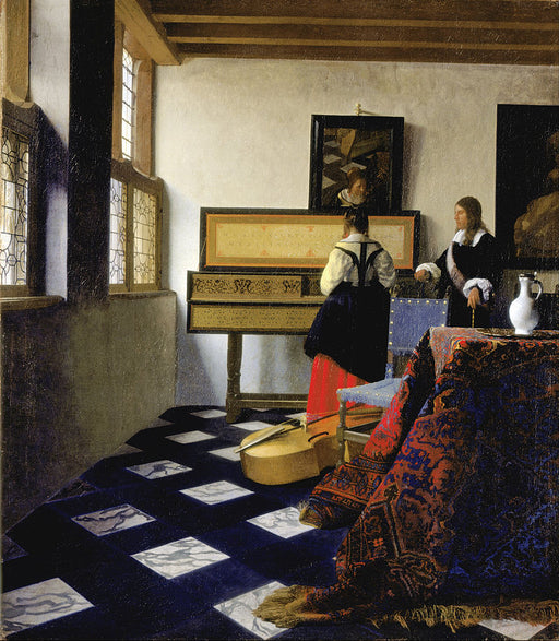 The Music Lesson by Johannes Vermeer Reproduction Painting by Blue Surf Art