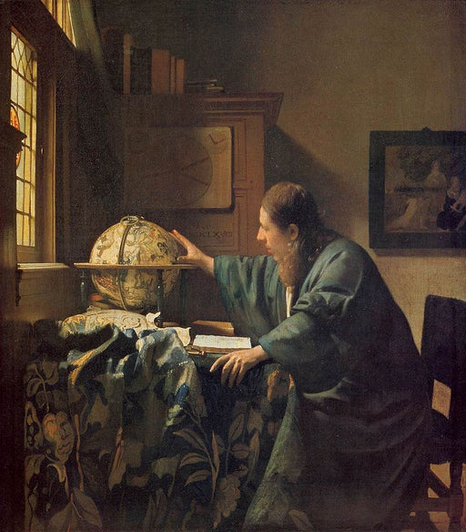 The Astronomer  by Johannes Vermeer Reproduction Painting by Blue Surf Art