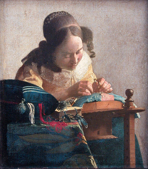 The Lacemaker by Johannes Vermeer Reproduction Painting by Blue Surf Art