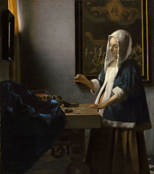 Woman Holding a Balance by Johannes Vermeer Reproduction Painting by Blue Surf Art