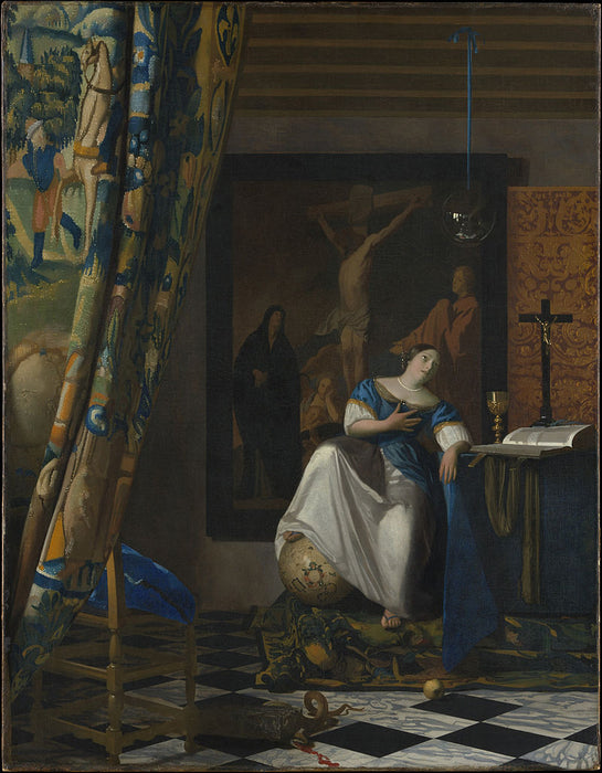 The Allegory of Faith by Johannes Vermeer Reproduction Painting by Blue Surf Art