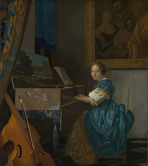 Lady Seated at a Virginal  by Johannes Vermeer Reproduction Painting by Blue Surf Art