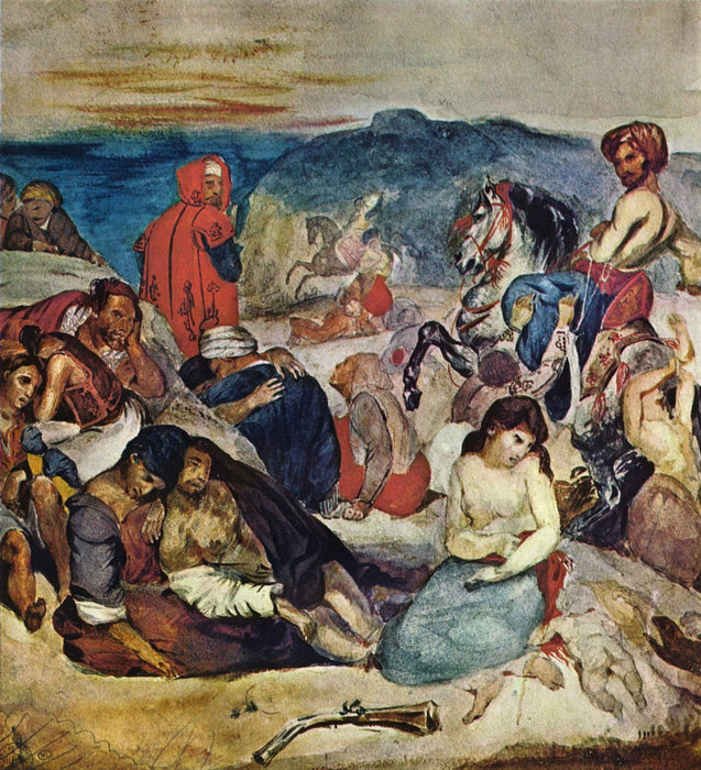 Massacre of Chios by Eugène Delacroix Reproduction Painting by Blue Surf Art