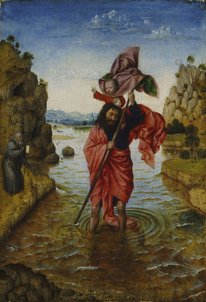 Saint Christopher (after van Eyck) by Jan Van Eyck Reproduction Painting by Blue Surf Art