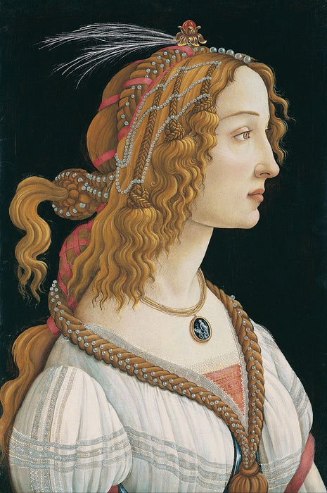 Portrait of a Young Woman (Botticelli, Frankfurt) by Sandro Botticelli I Blue Surf Art