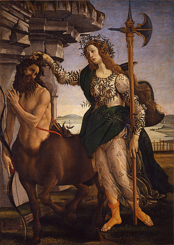 Pallas and the Centaur by Sandro Botticelli I Blue Surf Art