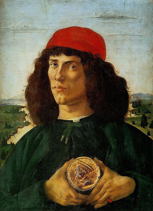 Portrait of a Man with a Medal of Cosimo the Elder by Sandro Botticelli I Blue Surf Art