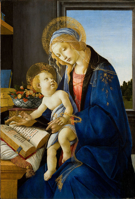 Madonna of the Book by Sandro Botticelli I Blue Surf Art