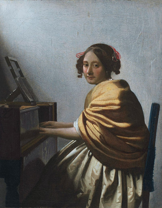 A Young Woman Seated at the Virginals by Johannes Vermeer Reproduction Painting by Blue Surf Art