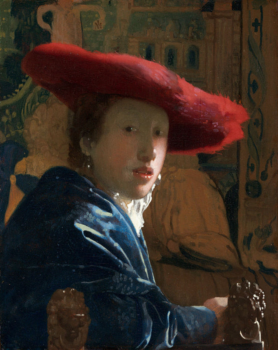 Girl with a Red Hat by an Open Window  by Johannes Vermeer Reproduction Painting by Blue Surf Art