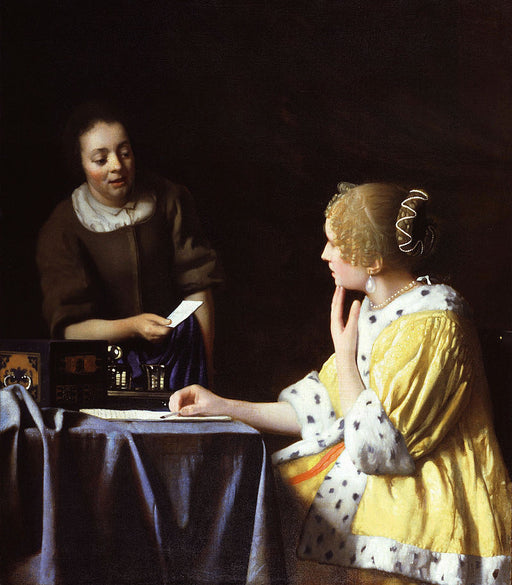 Mistress and Maid  by Johannes Vermeer Reproduction Painting by Blue Surf Art