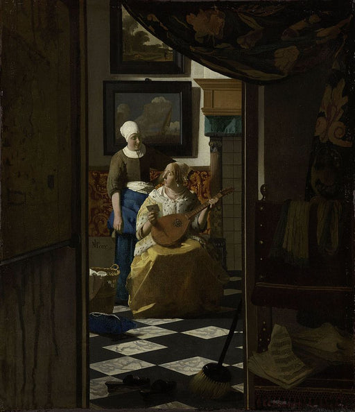 The Love Letter by Johannes Vermeer Reproduction Painting by Blue Surf Art