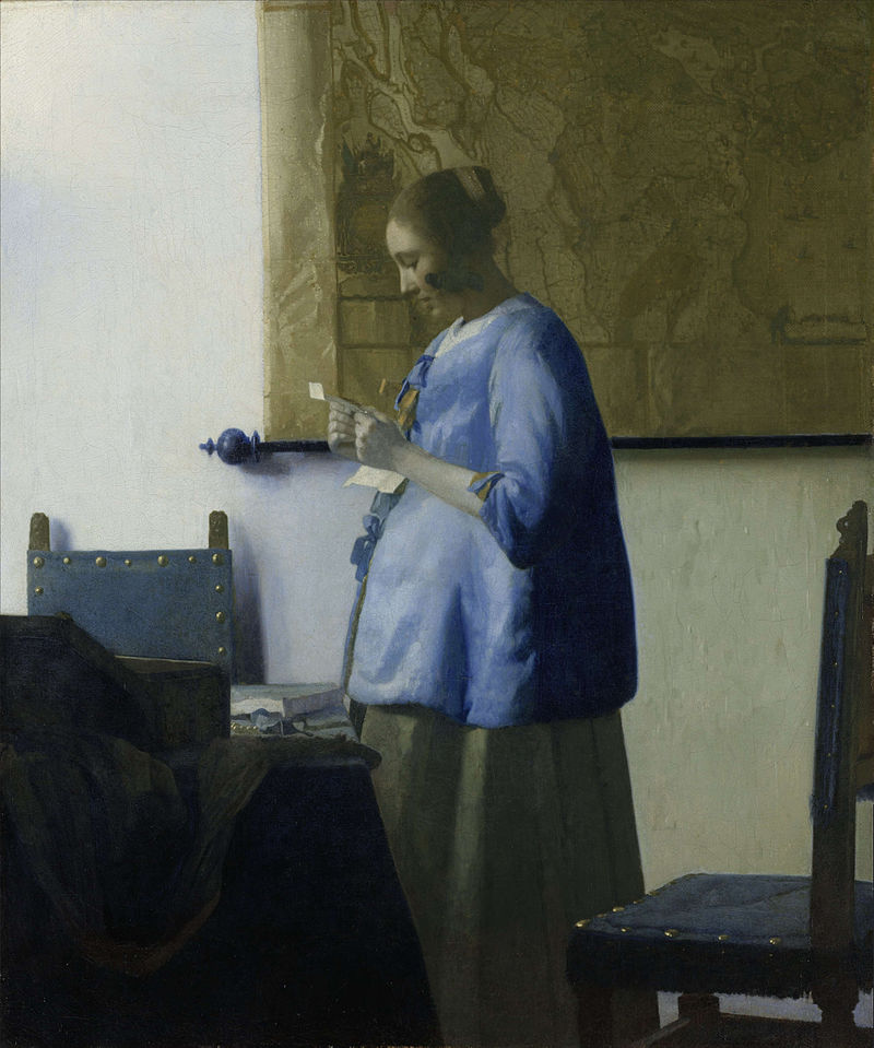 Woman Reading a Letter by Johannes Vermeer Reproduction Painting by Blue Surf Art
