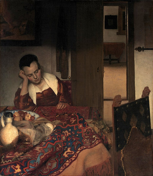 A Maid Asleep by Johannes Vermeer Reproduction Painting by Blue Surf Art