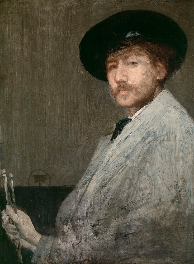 Arrangement in Gray: Portrait of the Painter by James Abbott McNeill Whistler Reproduction Painting by Blue Surf Art