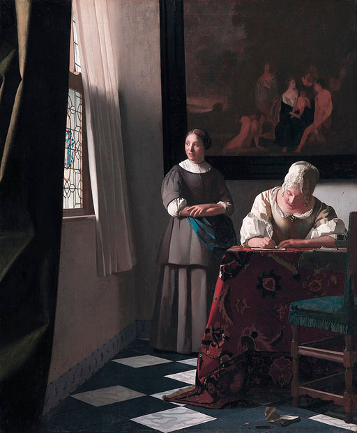 Lady Writing a Letter with her Maid  by Johannes Vermeer Reproduction Painting by Blue Surf Art