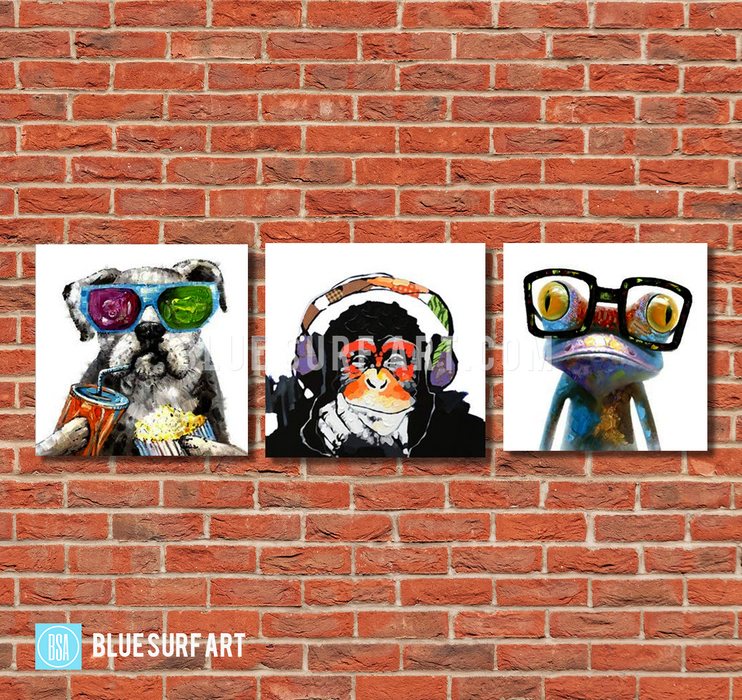 Frog Monkey and Puppy Wall Art Set 100% Hand Painted Oil Painting on Canvas - Wall Art Home Decor -  red bricks