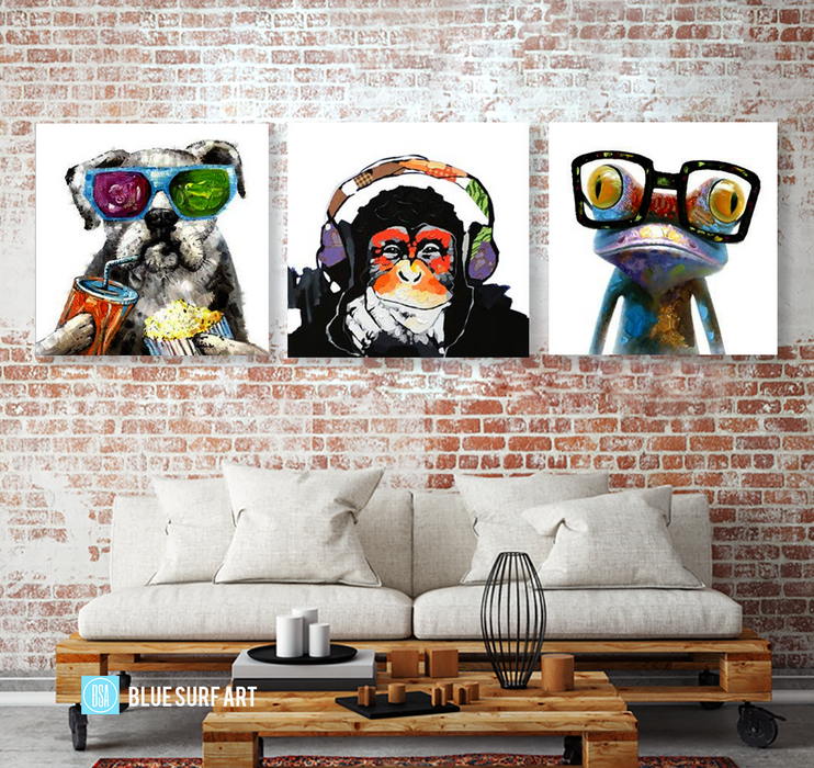 Frog Monkey and Puppy Wall Art Set 100% Hand Painted Oil Painting on Canvas - Wall Art Home Decor - living room decor