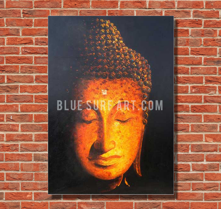 Golden Sukhothai Buddha Oil Painting on Canvas by Blue Surf Art with red bricks