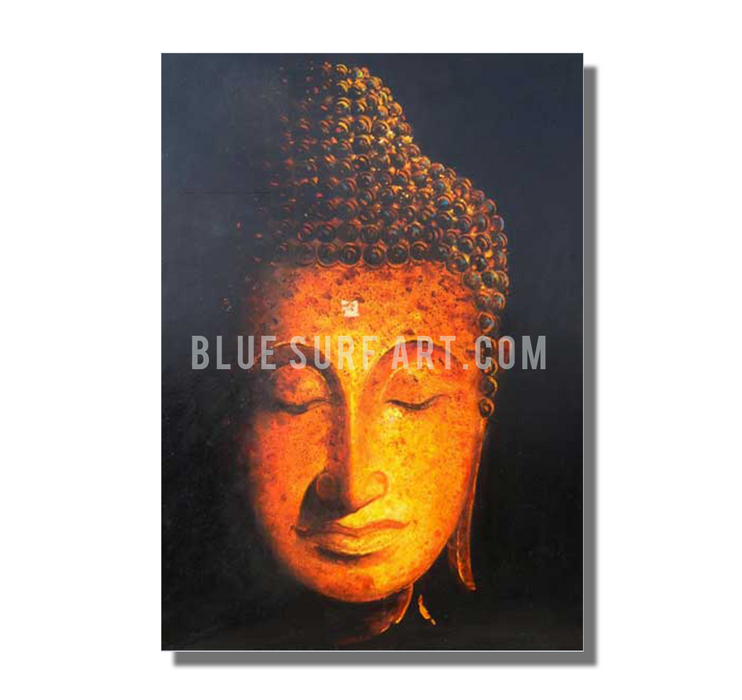 Golden Sukhothai Buddha with white background Oil Painting on Canvas by Blue Surf Art