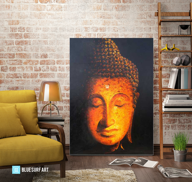 Golden Sukhothai Buddha - living room showcase Oil Painting on Canvas by Blue Surf Art