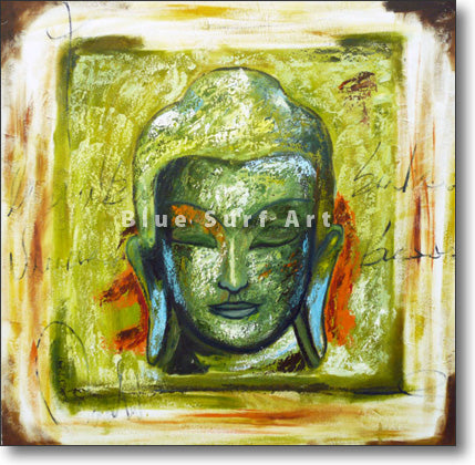 Rattanakosin Buddha Portrait Painting in Green by Blue Surf Art