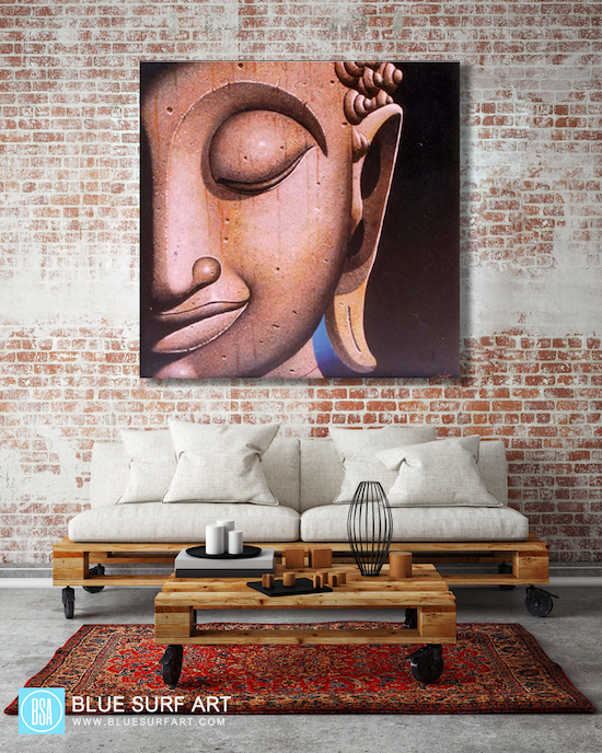 Ayutthaya Buddha Painting - living room showcase