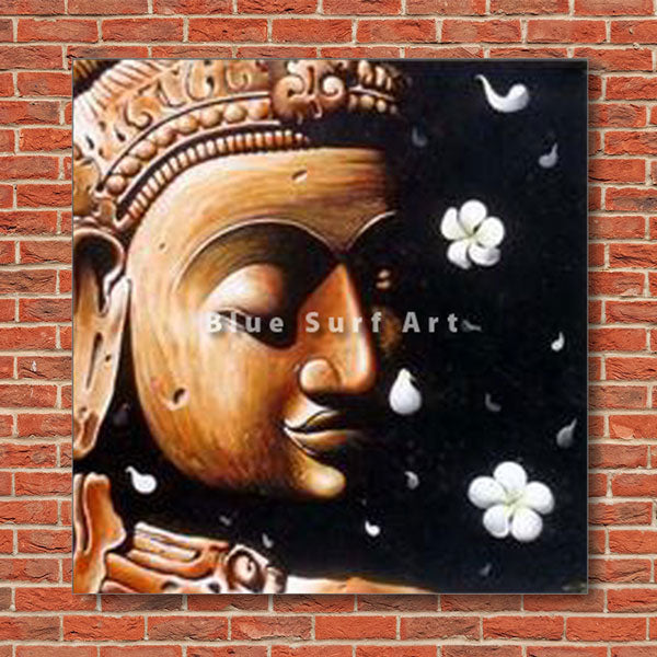Dvaravati Buddha Oil Painting on Canvas - red bricks wall