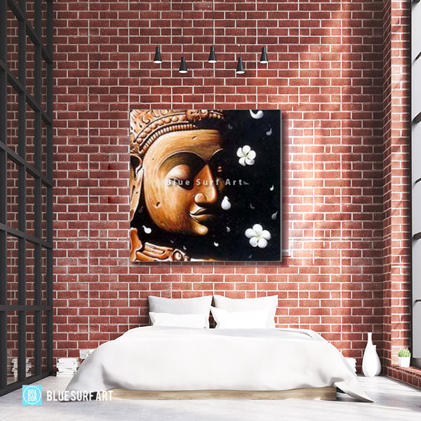 Dvaravati Buddha Oil Painting on Canvas - loft style showcase