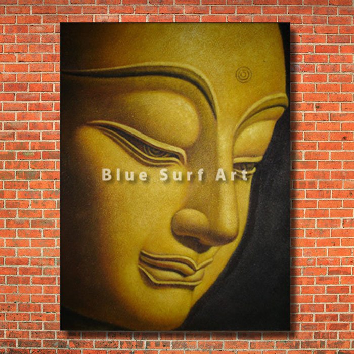Shakyamuni Buddha Oil Painting on Canvas with a red bricks wall