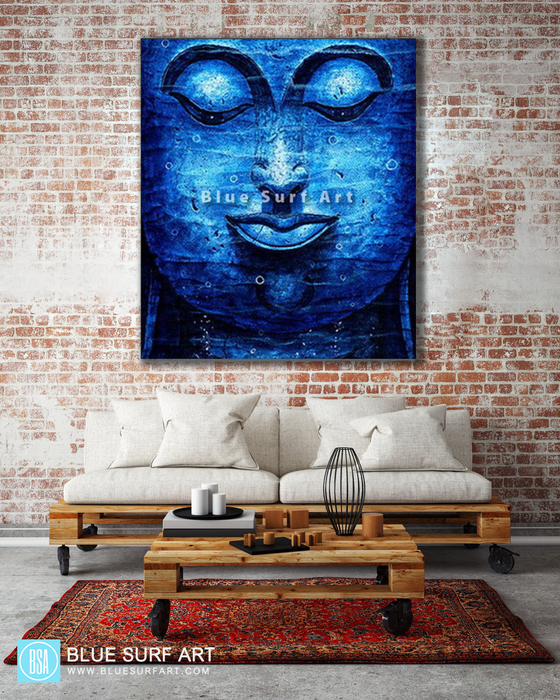 Blue Lagoon Chiangsaen Buddha - Asian Art Oil Painting on Canvas - living room