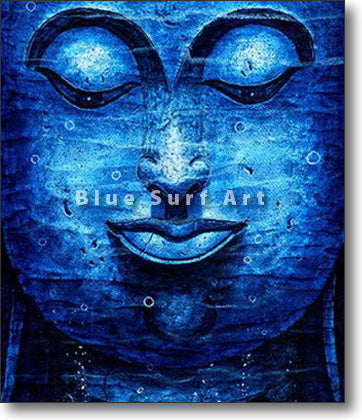Blue Lagoon Chiangsaen Buddha - Asian Art Oil Painting on Canvas
