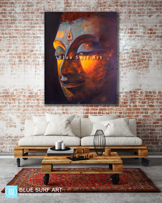 Loft living room with asian decor style - Phra Atchana Buddha Painting