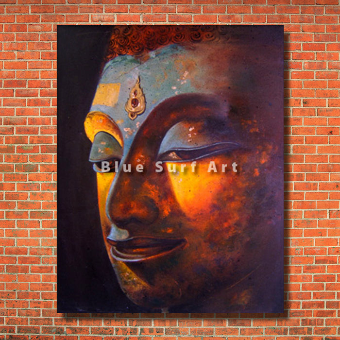 Phra Atchana Buddha Painting with a red bricks wall