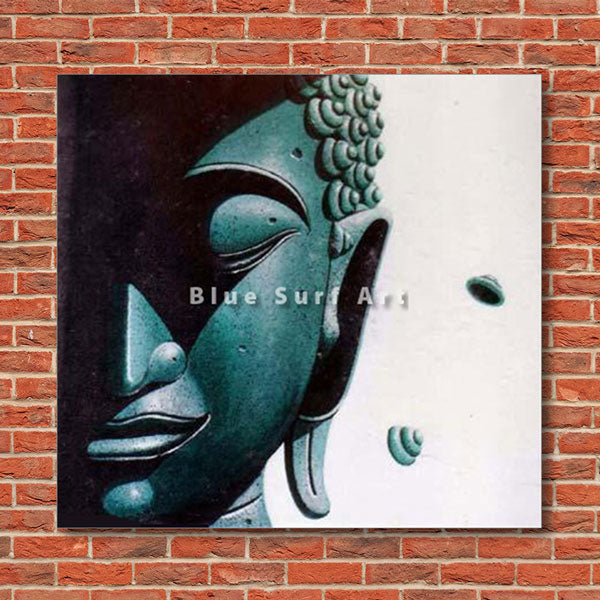 Srivijaya Buddha Oil Painting on Canvas - red bricks wall
