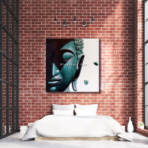 Srivijaya Buddha Oil Painting on Canvas - bedroom showcase