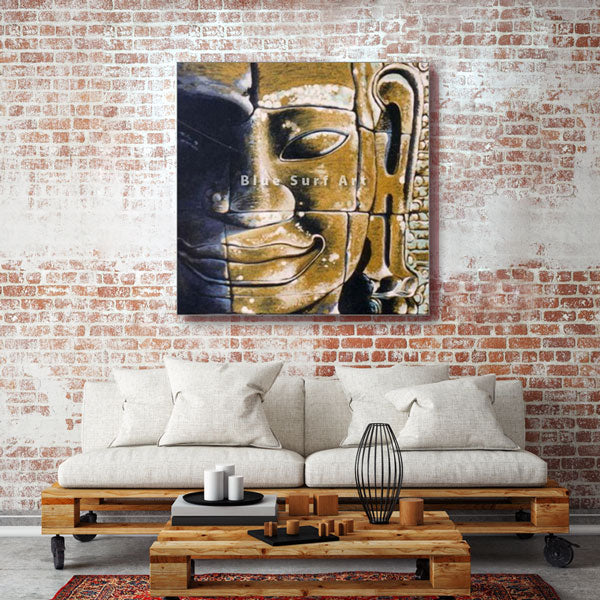 Lopburi Buddha Oil Painting on Canvas - living room showcase