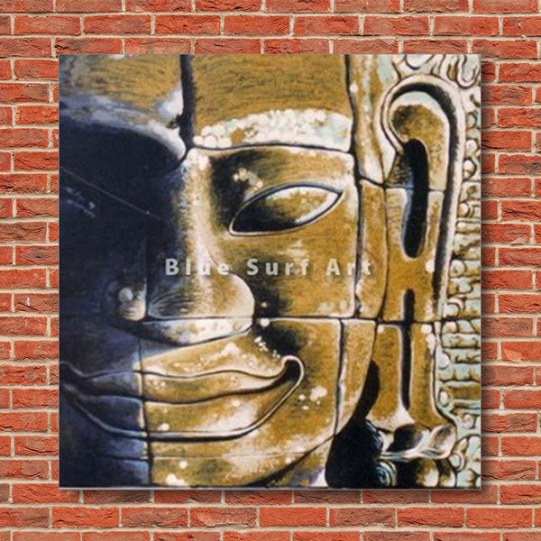 Lopburi Buddha Oil Painting on Canvas - red bricks wall