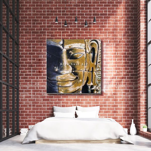 Lopburi Buddha Oil Painting on Canvas - bedroom showcase