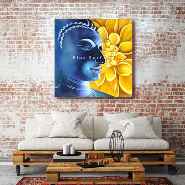 Delight Buddha Oil Painting on Canvas - living room