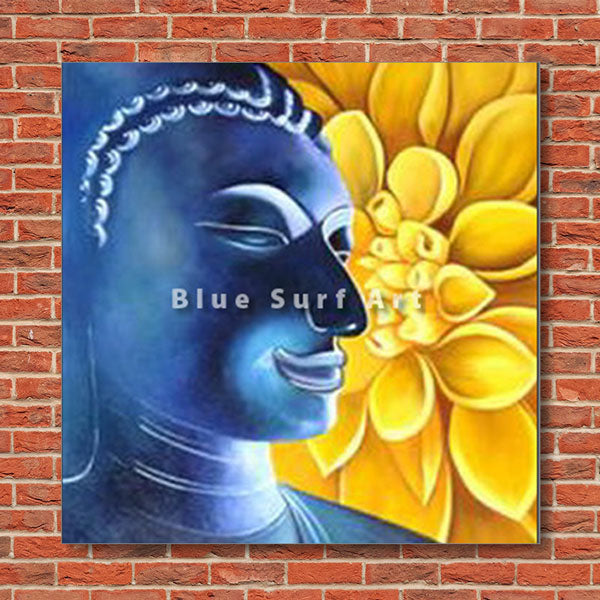 Delight Buddha Oil Painting on Canvas - red bricks wall