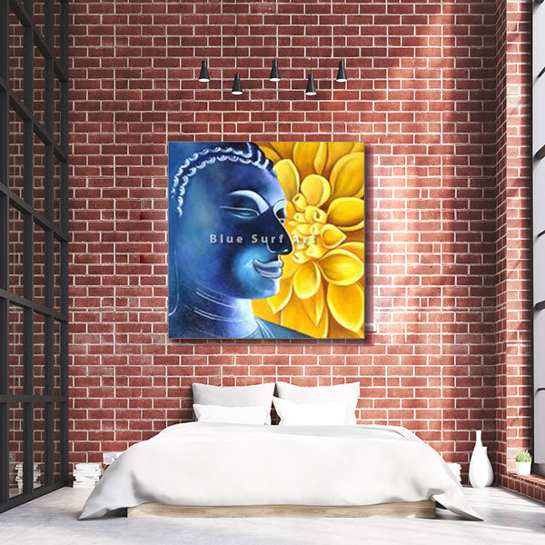 Delight Buddha Oil Painting on Canvas - bedroom lofty style