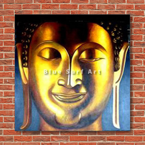 Enlightened Buddha Painting - red bricks wall