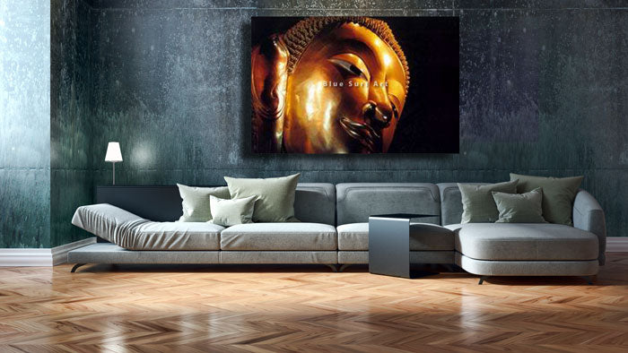 Modern comtemporary living room with a Reclining Buddha Oil Painting on Canvas by blue surf art