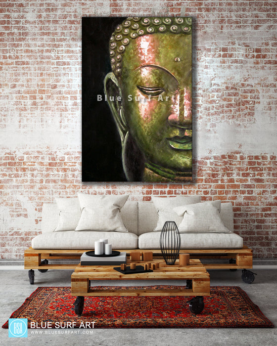 Living room with Thonburi Buddha Oil Painting