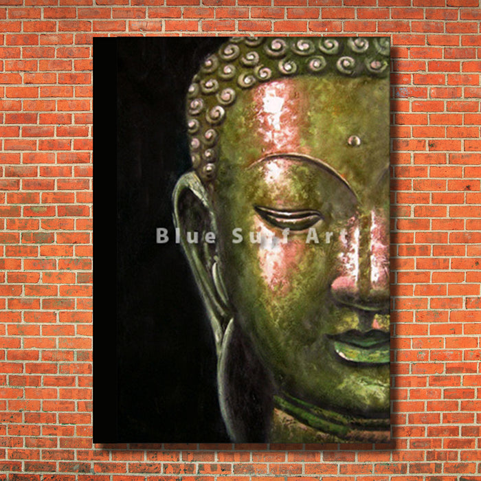 Thonburi Buddha Oil Painting - red bricks