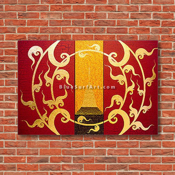 Golden Stupa Asian Art Oil Painting on Canvas - Red bricks wall