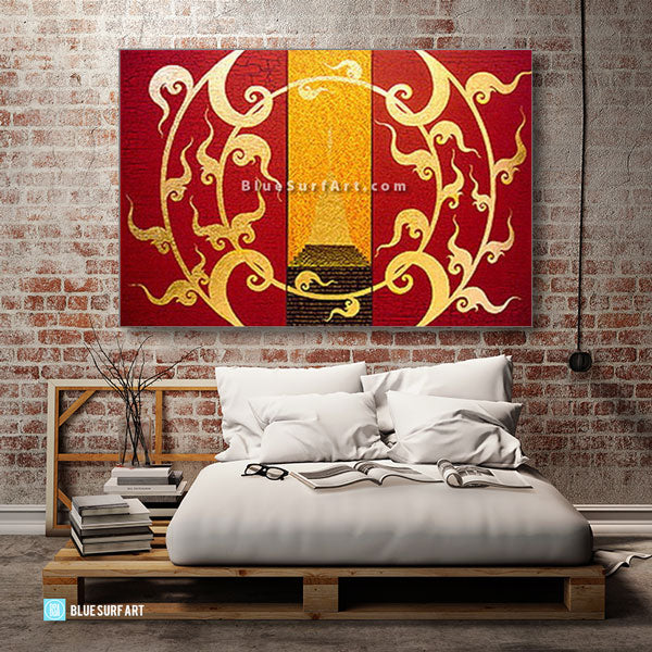 Golden Stupa Asian Art Oil Painting on Canvas - bedroom loft style