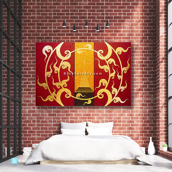 Golden Stupa Asian Art Oil Painting on Canvas - Bedroom showcase