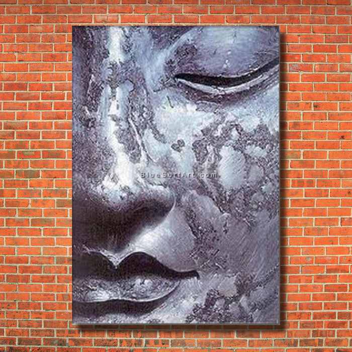 Meditation Buddha Painting - red bricks wall